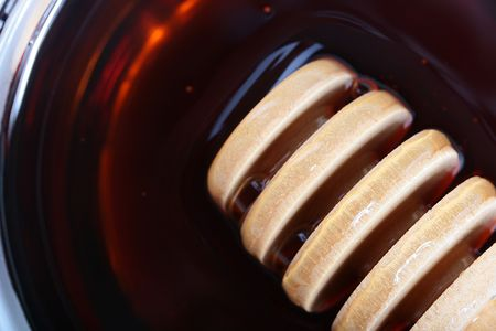adaptations: Special kitchen adaptations for scoop honey in the honey. Stock Photo