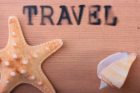 The wooden panel with a hot stamping Travel with a starfish and a cockleshell.