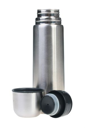 tightness: Metal flask for preservation of a hot or cold liquid on a white background. Stock Photo