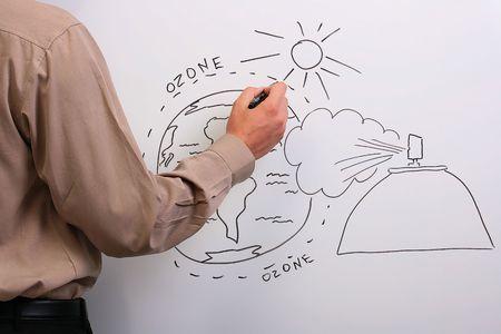 ozon: Mann in ein braunes Hemd zeichnen, was passieren könnte, in der Ozonschicht der Erde.