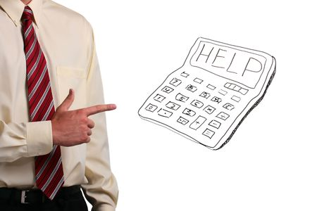 Man in a shirt and a tie pointing at a calculator that says