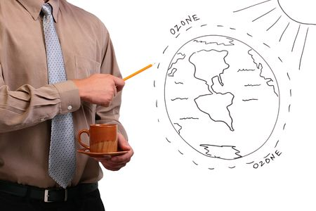 ozone: Man in a shirt and a tie pointing to a diagram of the earths ozone layer. Stock Photo