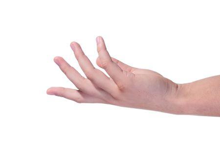 Powerlessly colgando mano del hombre sobre un fondo blanco.  Foto de archivo - 7528024