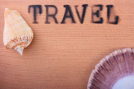 뜨거운 스탬프와 나무 패널 여행 및 cockleshell입니다.