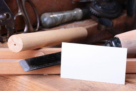 古いツールや名刺が金工ワーク ショップ。 写真素材