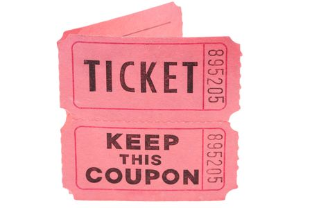 Tickets and coupon for a pink cardboard for visiting of show, concerts etc.