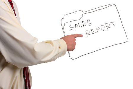 Man in a shirt and a tie pointing to a sales report folder.  Stock Photo - 7750180