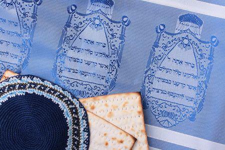 kippah: Una Kip� azul junto al pan �cimo y un tallit jud�o. A�adir el texto de fondo.