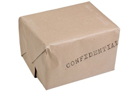 Brown confidential box isolated on a white background.