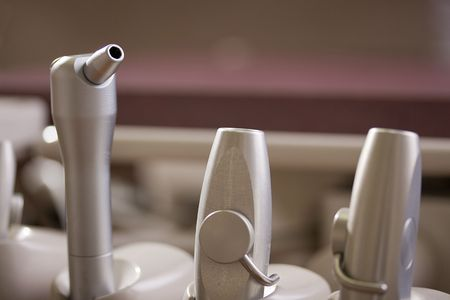 Close-up of dental tools in a dental clinic. photo