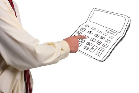 Man in a shirt and a tie pressing buttons on a drawn calculator. Add your text to the calculator. Imagens