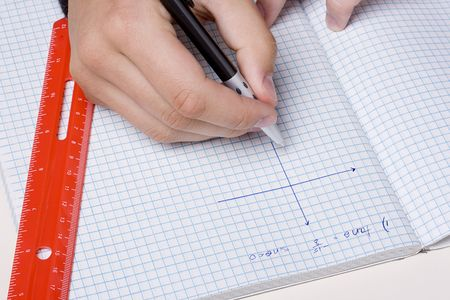 problem: Student making a graph to solve a mathematical problem.