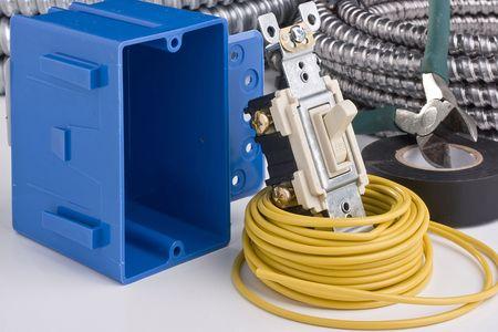 전기 스위치 설치용 장비.