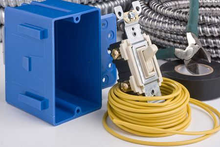 electrical wires: Equipment for the installation of an electrical switch.