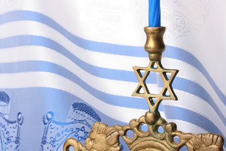 rosh: Menorah in front of a blue and white tallit. Add your text to the background.