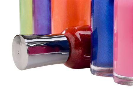 nail polish bottle: Nail polish bottles on a white background.