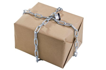locked: Box wrapped around with a chain and closed with a lock on a white background. Stock Photo