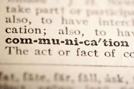pronounce: Word communication from the old dictionary, a close up.
