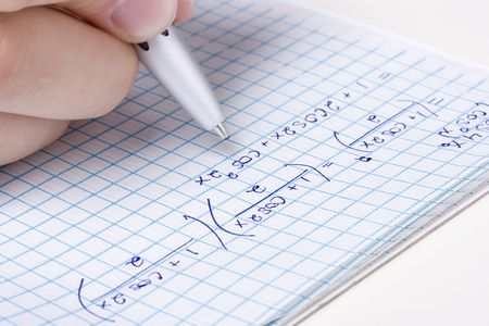problem: Student solving a math problem in a notebook.