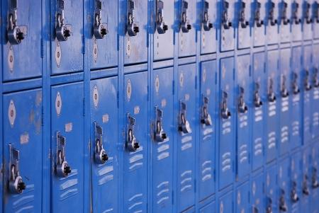 middle school: School metal lockers for storage of personal belongings. Stock Photo