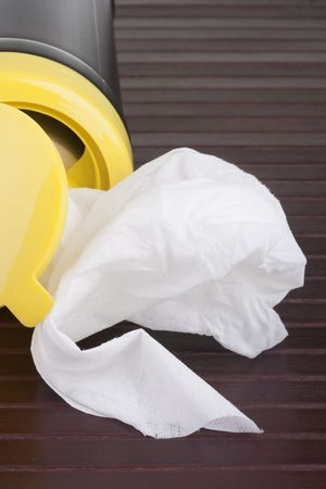 Napkin for cleaning in a plastic container with a wood background. photo