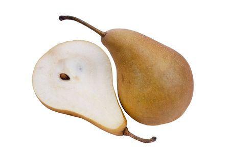 The Flavovirent pear is cut half-and-half on a white background.