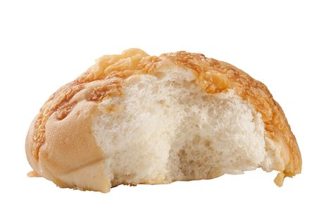 Rich white bread topped with cheese on a white background. Reklamní fotografie