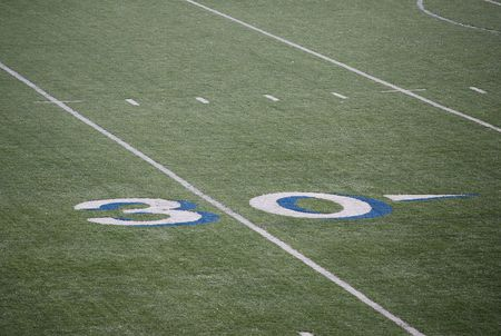 Thirty yards of the mark on the field for the game of American football. Stock Photo - 8075304