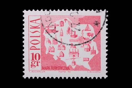 Poland - CIRCA 1966: A stamp is printed in Poland, Tourist Map, let out CIRCA in 1966. Stock fotó