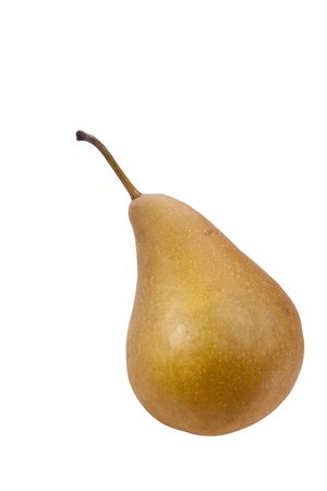 Flavovirent pear with a matte surface on a white background. Stock Photo