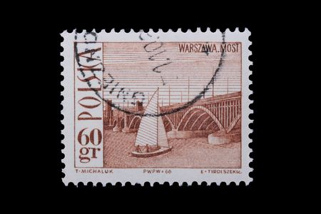 Poland - CIRCA 1966: A stamp is printed in Poland, Warsaw Bridge, let out CIRCA in 1966.