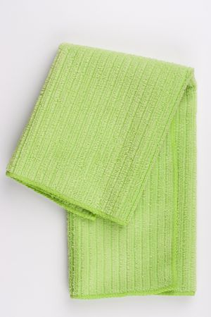Napkin made of cloth it is light green colour for dust cleaning.