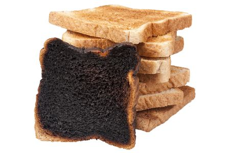 Charred toast after a long stay in the toaster. photo