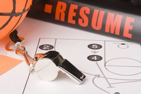 referees: Equipment and a resume of a very experienced basketball coach.