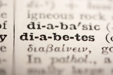 pronounce: Word diabetes from the old dictionary, a close up. Stock Photo