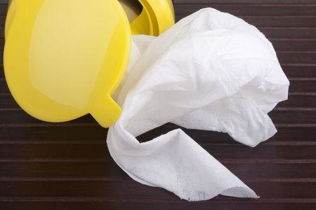 Napkin for cleaning in a plastic container with a wood background. Stock Photo - 8153405
