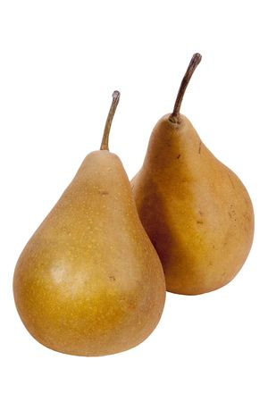 Flavovirent pears with a matte surface on a white background.