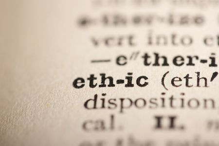 pronounce: Word ethic from the old dictionary, a close up.