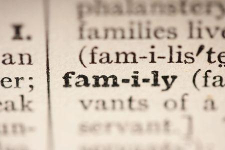 diccionarios: Palabra familia del diccionario antiguo, un cierre arriba.  Foto de archivo