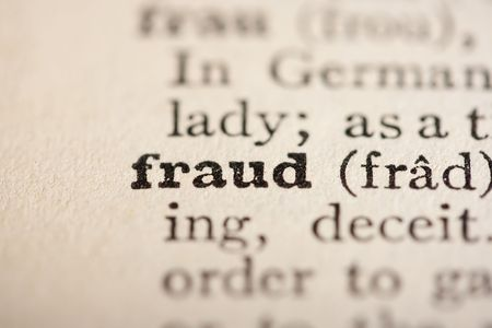 pronounce: Word fraud from the old dictionary, a close up.