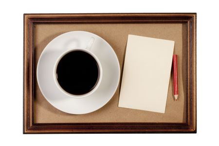 Wooden frame with paper craft in the background with a cup of coffee. Stock Photo - 8153777