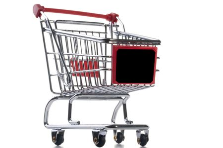 Empty shopping cart with the red handle on a white background. Stock Photo - 8153814