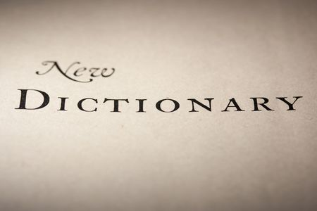 fruition: Heading on the turned yellow page of the old book - dictionary.