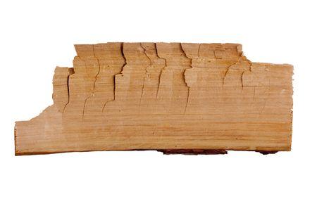 Old plank of wood. Isolated on white background. photo