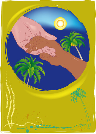 mutual help: White mans hand holding the hand of a black man. Vector.