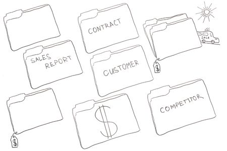 Folder drawings made for creative concepts for marketing. Stock Photo - 8213444