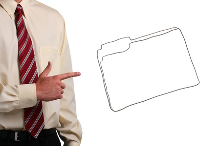 Man in a shirt and a tie pointing to a drawing of a folder. Add your text to the folder. Stock Photo - 8277766