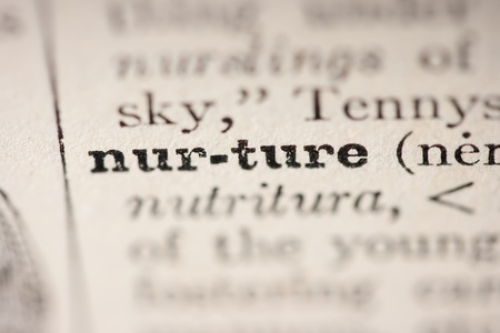 pronunciation: Word nurture from the old dictionary, a close up.