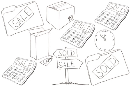 commerce: Commerce drawings made for conceptual creativity on white background.