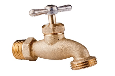 Brass Technical faucet with a shut-off valve and the ability to connect the hose to it for irrigation Stock Photo - 8277805